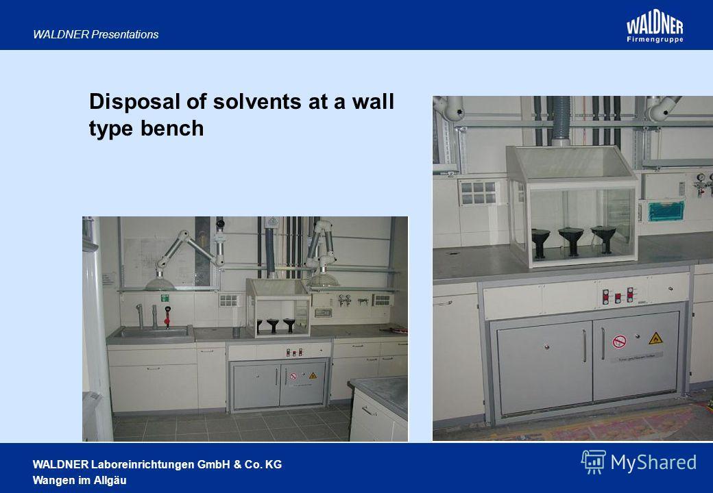 WALDNER Laboreinrichtungen GmbH & Co. KG Wangen im Allgäu WALDNER Presentations Disposal of solvents at a wall type bench