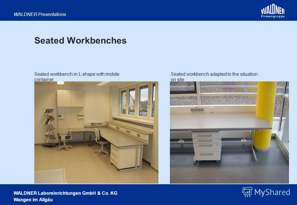 WALDNER Laboreinrichtungen GmbH & Co. KG Wangen im Allgäu WALDNER Presentations Seated workbench in L-shape with mobile container Seated workbench adapted to the situation on site Seated Workbenches