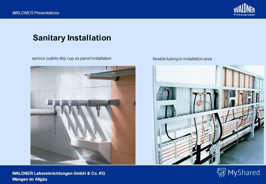 WALDNER Laboreinrichtungen GmbH & Co. KG Wangen im Allgäu WALDNER Presentations Sanitary Installation flexible tubing in installation area service outlets drip cup as panel installation