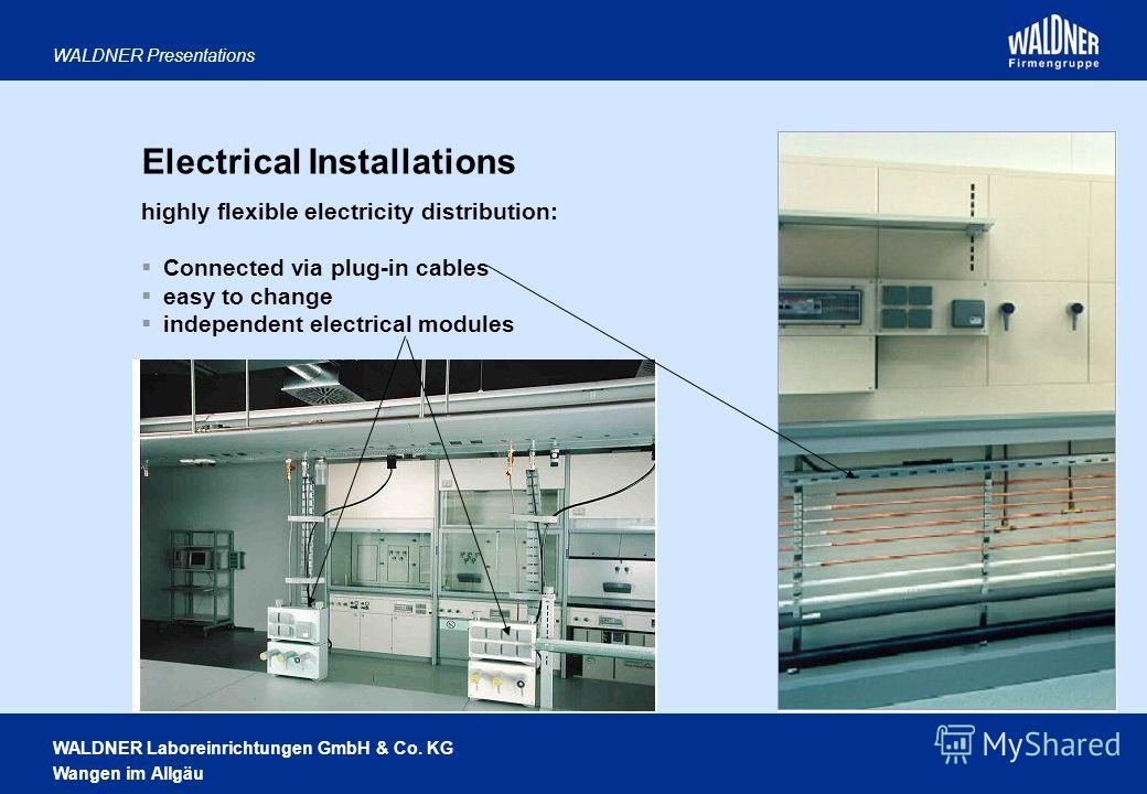 WALDNER Laboreinrichtungen GmbH & Co. KG Wangen im Allgäu WALDNER Presentations Electrical Installations highly flexible electricity distribution: Connected via plug-in cables easy to change independent electrical modules