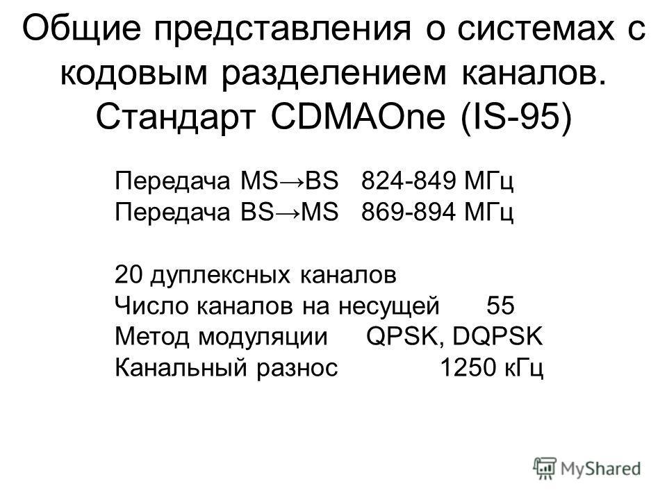 Общие представления о системах с кодовым разделением каналов. Стандарт CDMAOne (IS-95) Передача MSBS 824-849 МГц Передача BSMS 869-894 МГц 20 дуплексных каналов Число каналов на несущей 55 Метод модуляции QPSK, DQPSK Канальный разнос 1250 кГц