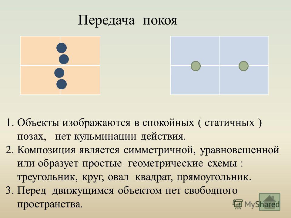 Передача покоя 1. Объекты изображаются в спокойных ( статичных ) позах, нет кульминации действия. 2. Композиция является симметричной, уравновешенной или образует простые геометрические схемы : треугольник, круг, овал квадрат, прямоугольник. 3. Перед