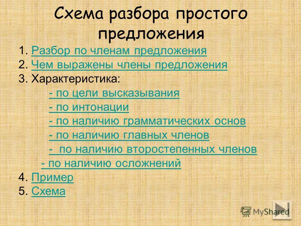 Схема разбора простого