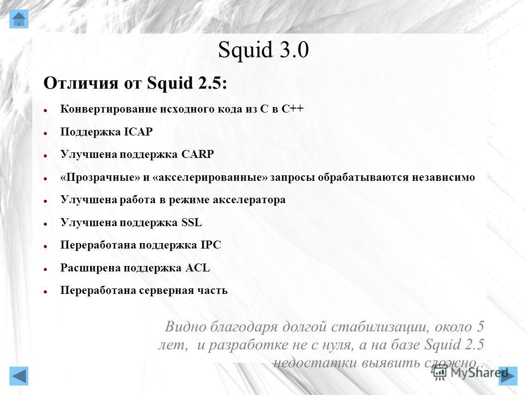 Squid 3.0 Отличия от Squid 2.5: Конвертирование исходного кода из С в C++ Поддержка ICAP Улучшена поддержка CARP «Прозрачные» и «акселерированные» запросы обрабатываются независимо Улучшена работа в режиме акселератора Улучшена поддержка SSL Перерабо