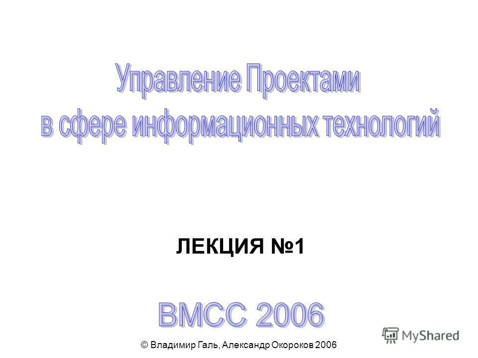 © Владимир Галь, Александр Окороков 2006 ЛЕКЦИЯ 1