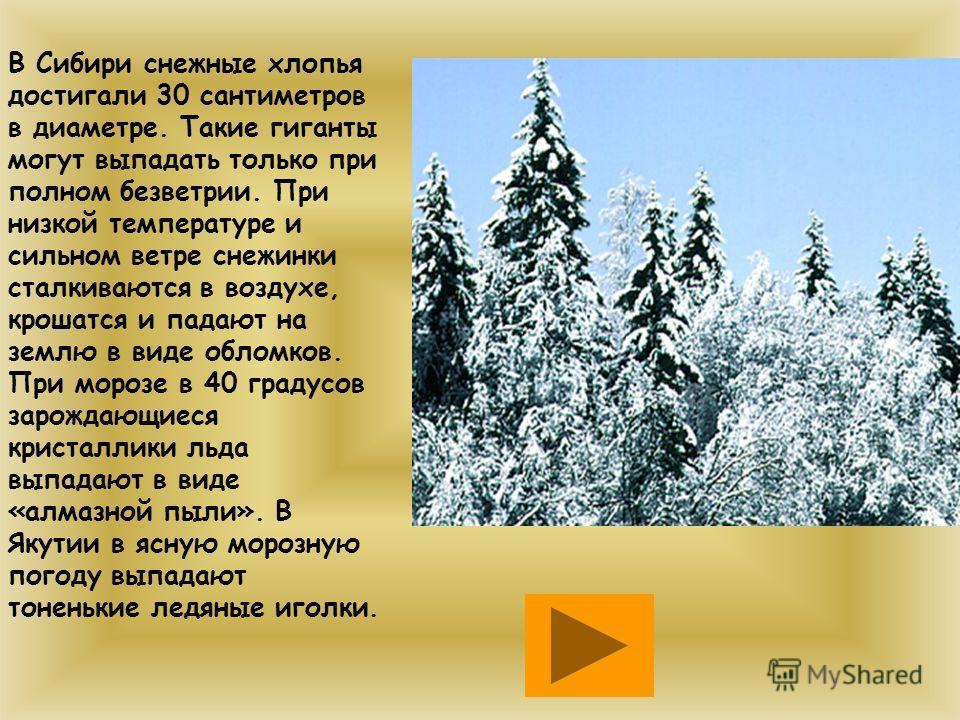 В Сибири снежные хлопья достигали 30 сантиметров в диаметре. Такие гиганты могут выпадать только при полном безветрии. При низкой температуре и сильном ветре снежинки сталкиваются в воздухе, крошатся и падают на землю в виде обломков. При морозе в 40