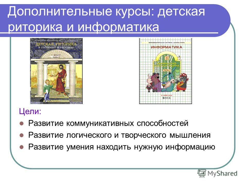Дополнительные курсы: детская риторика и информатика Цели: Развитие коммуникативных способностей Развитие логического и творческого мышления Развитие умения находить нужную информацию