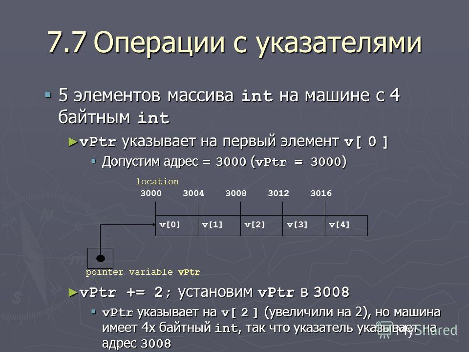 7.7Операции с указателями 5 элементов массива int на машине с 4 байтным int 5 элементов массива int на машине с 4 байтным int vPtr указывает на первый элемент v[ 0 ] vPtr указывает на первый элемент v[ 0 ] Допустим адрес = 3000 ( vPtr = 3000 ) Допуст