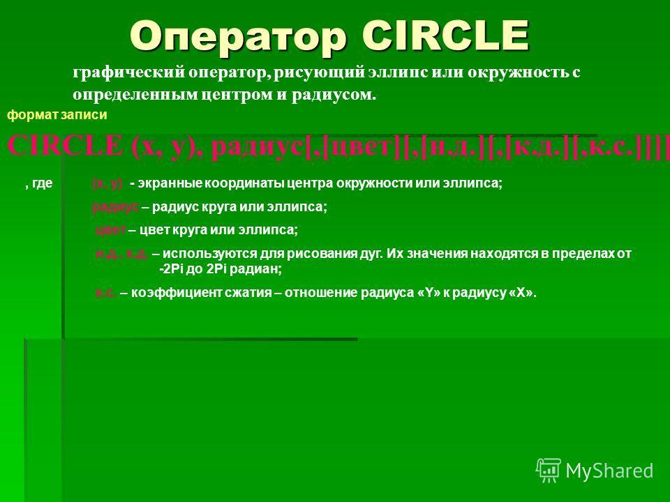 Оператор CIRCLE графический оператор, рисующий эллипс или окружность с определенным центром и радиусом. формат записи CIRCLE (x, y), радиус[,[цвет][,[н.д.][,[к.д.][,к.с.]]]], где (x, y) - экранные координаты центра окружности или эллипса; радиус – ра