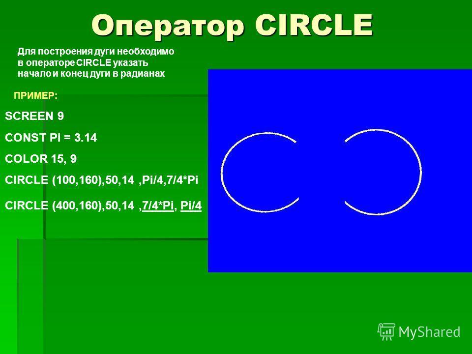 Оператор CIRCLE ПРИМЕР: SCREEN 9 CONST Pi = 3.14 COLOR 15, 9 CIRCLE (100,160),50,14,Pi/4,7/4*Pi Для построения дуги необходимо в операторе CIRCLE указать начало и конец дуги в радианах CIRCLE (400,160),50,14,7/4*Pi, Pi/4