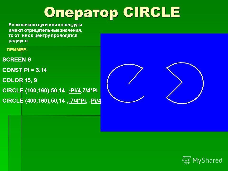 Оператор CIRCLE Если начало дуги или конец дуги имеют отрицательные значения, то от них к центру проводятся радиусы ПРИМЕР: SCREEN 9 CONST Pi = 3.14 COLOR 15, 9 CIRCLE (100,160),50,14,-Pi/4,7/4*Pi CIRCLE (400,160),50,14,-7/4*Pi, -Pi/4