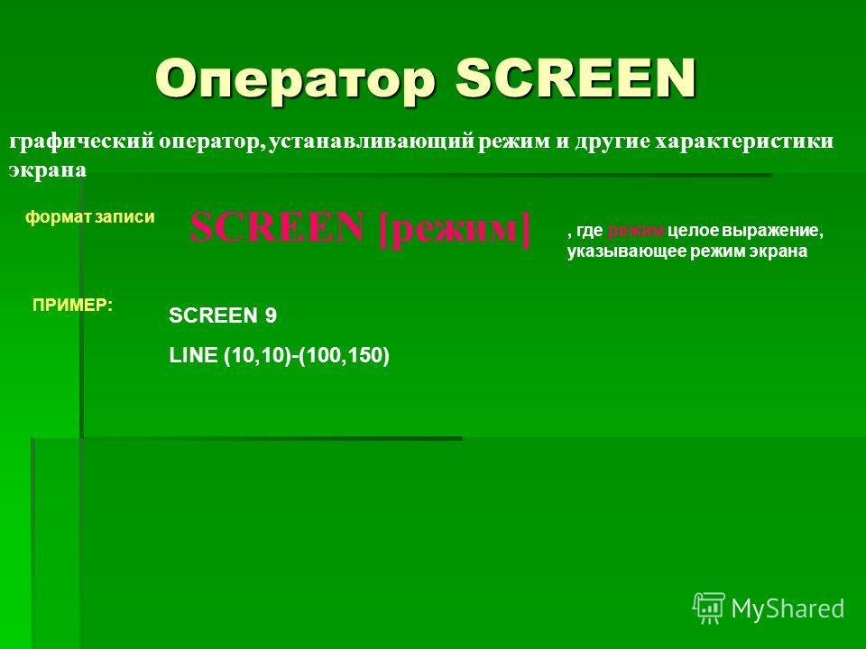 Оператор SCREEN графический оператор, устанавливающий режим и другие характеристики экрана формат записи SCREEN [режим], где режим целое выражение, указывающее режим экрана ПРИМЕР: SCREEN 9 LINE (10,10)-(100,150)