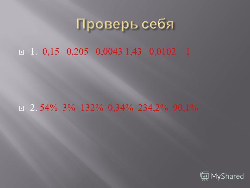 1. 0,15 0,205 0,0043 1,43 0,0102 1 2. 54% 3% 132% 0,34% 234,2% 90,1%