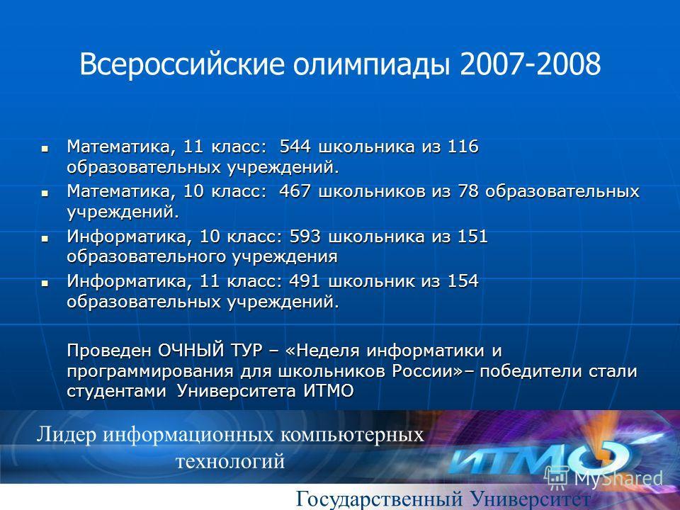 Государственный Университет Лидер информационных компьютерных технологий Всероссийские олимпиады 2007-2008 Математика, 11 класс: 544 школьника из 116 образовательных учреждений. Математика, 11 класс: 544 школьника из 116 образовательных учреждений. М