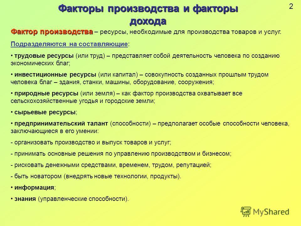 производство и ресурсы: