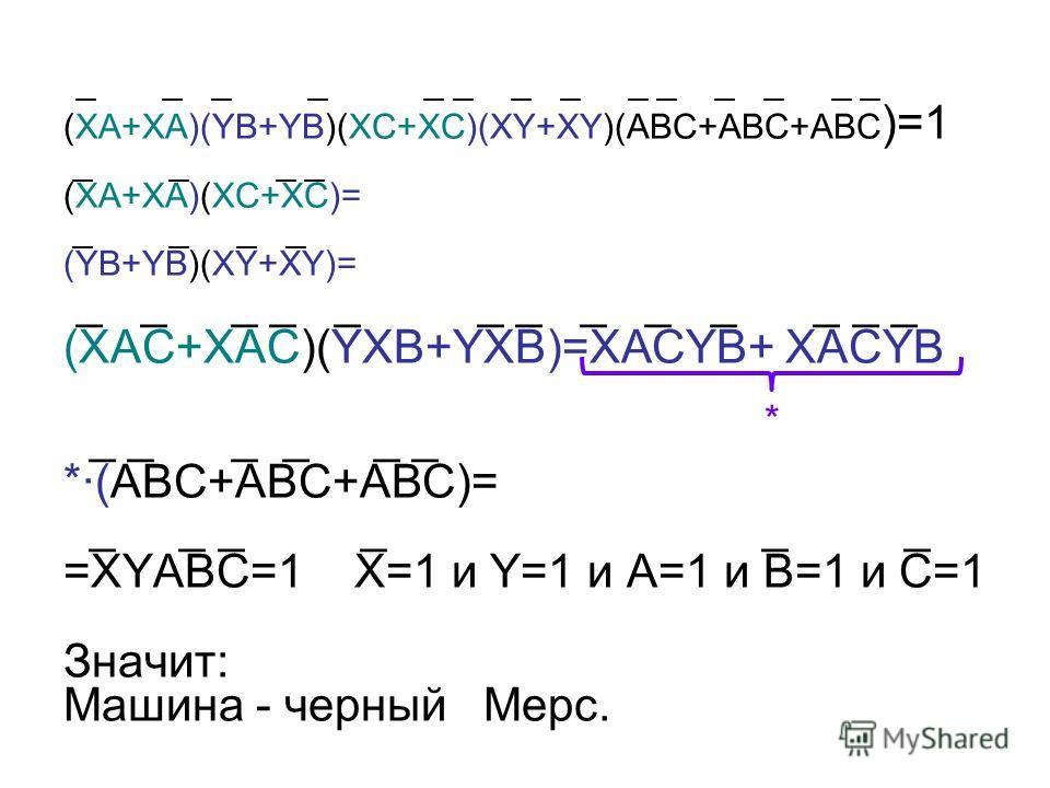 _ _ _ _ _ _ _ _ _ _ _ _ _ _ (ХА+ХА)(YB+YB)(ХC+ХC)(XY+XY)(АВС+АВС+АВС )=1 _ _ _ _ (ХА+ХА)(ХC+ХC)= _ _ _ _ (YB+YB)(XY+XY)= _ _ _ _ _ _ _ _ _ _ _ _ _ (ХАС+ХАС)(YXB+YXB)=XACYB+ XACYB _ _ _ _ _ _ *·(ABC+АВC+ABC)= _ _ _ _ _ _ =XYABC=1 X=1 и Y=1 и A=1 и В=1