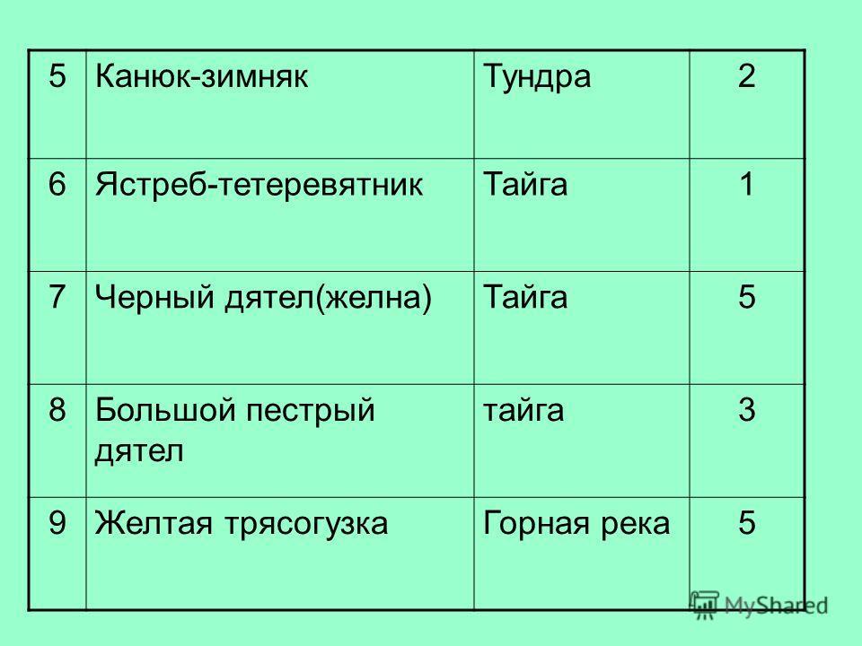 5Канюк-зимнякТундра2 6Ястреб-тетеревятникТайга1 7Черный дятел(желна)Тайга5 8Большой пестрый дятел тайга3 9Желтая трясогузкаГорная река5