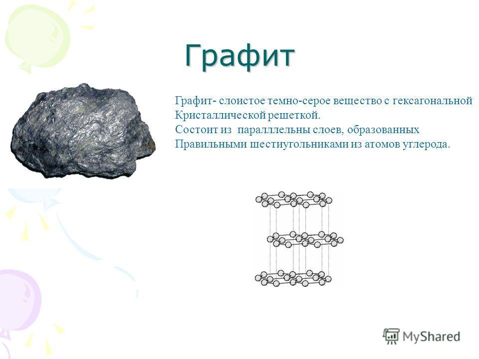 Графит Графит- слоистое темно-серое вещество с гексагональной Кристаллической решеткой. Состоит из паралллельны слоев, образованных Правильными шестиугольниками из атомов углерода.