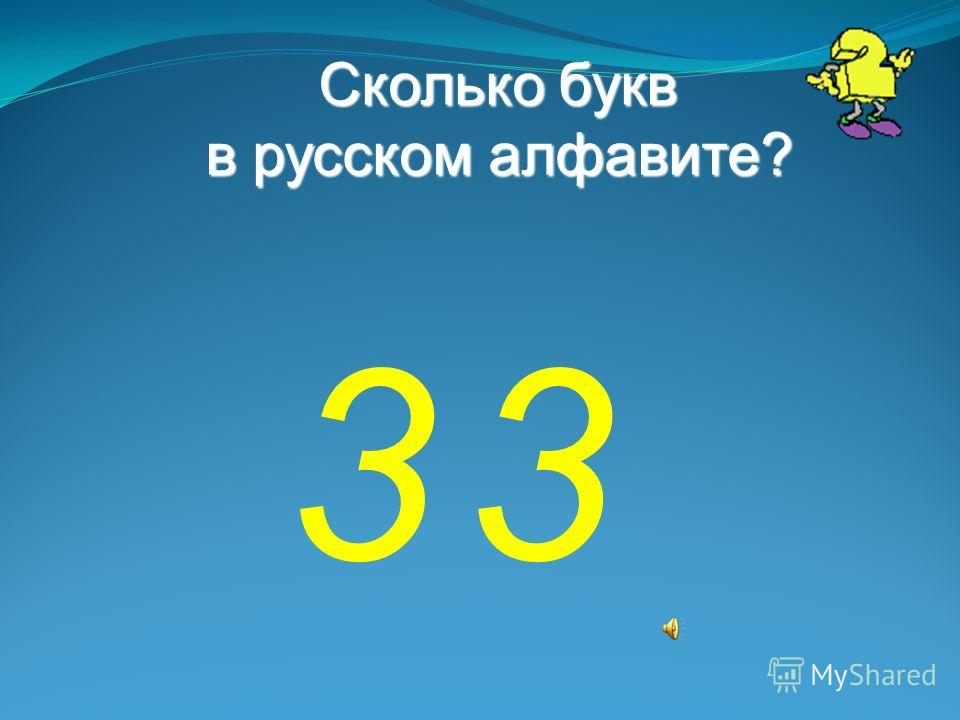 Сколько букв в русском алфавите? 33
