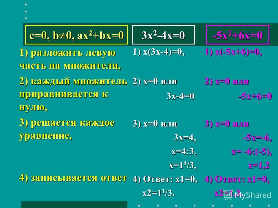 3x 2 -4x=0 1) разложить левую часть на множители, 2) каждый множитель приравнивается к нулю, 3) решается каждое уравнение, 4) записывается ответ 1) х(3х-4)=0, 2) x=0 или 3х-4=0 3х-4=0 3) х=0 или 3х=4, 3х=4, х=4:3, х=4:3, х= 1 1 /3, х= 1 1 /3, 4) Отве