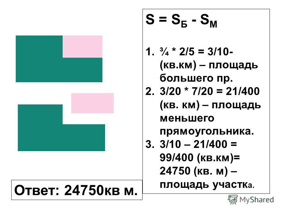 Ответ: 24750кв м. S = S Б - S М 1.¾ * 2/5 = 3/10- (кв.км) – площадь большего пр. 2.3/20 * 7/20 = 21/400 (кв. км) – площадь меньшего прямоугольника. 3.3/10 – 21/400 = 99/400 (кв.км)= 24750 (кв. м) – площадь участк а.