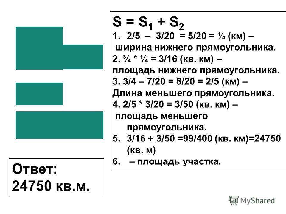 S = S 1 + S 2 1.2/5 – 3/20 = 5/20 = ¼ (км) – ширина нижнего прямоугольника. 2. ¾ * ¼ = 3/16 (кв. км) – площадь нижнего прямоугольника. 3. 3/4 – 7/20 = 8/20 = 2/5 (км) – Длина меньшего прямоугольника. 4. 2/5 * 3/20 = 3/50 (кв. км) – площадь меньшего п
