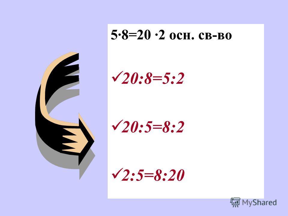 Е сли в верной пропорции поменять местами средние члены или крайние члены то получившиеся новые пропорции тоже верны. С оставить пропорцию из чисел 5, 20, 8, 2.