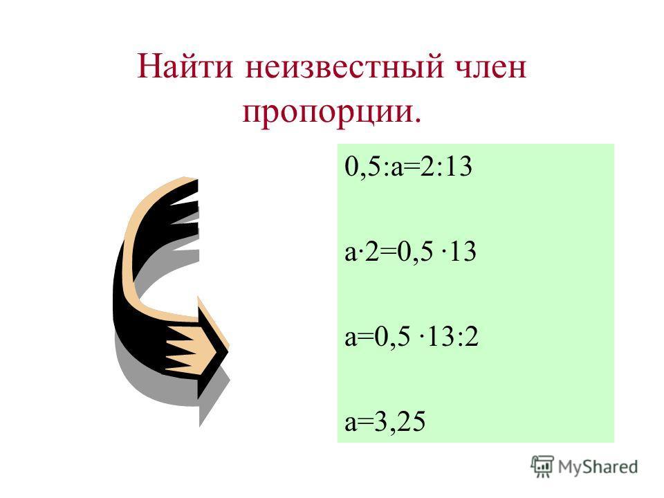 Нахождение неизвестного члена пропорции. Используя основное свойство пропорции, можно найти её неизвестный член, если все остальные члены известны. a:b=c:da:b=c:d b = a ·d=b ·c a =