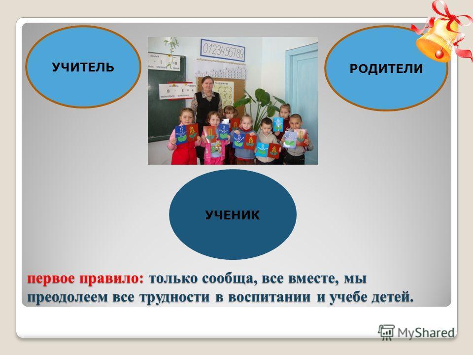 первое правило: только сообща, все вместе, мы преодолеем все трудности в воспитании и учебе детей. УЧЕНИК РОДИТЕЛИ УЧИТЕЛЬ