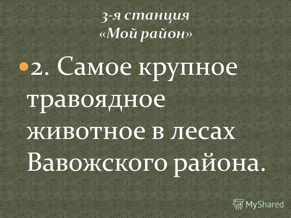 2. Самое крупное травоядное животное в лесах Вавожского района.