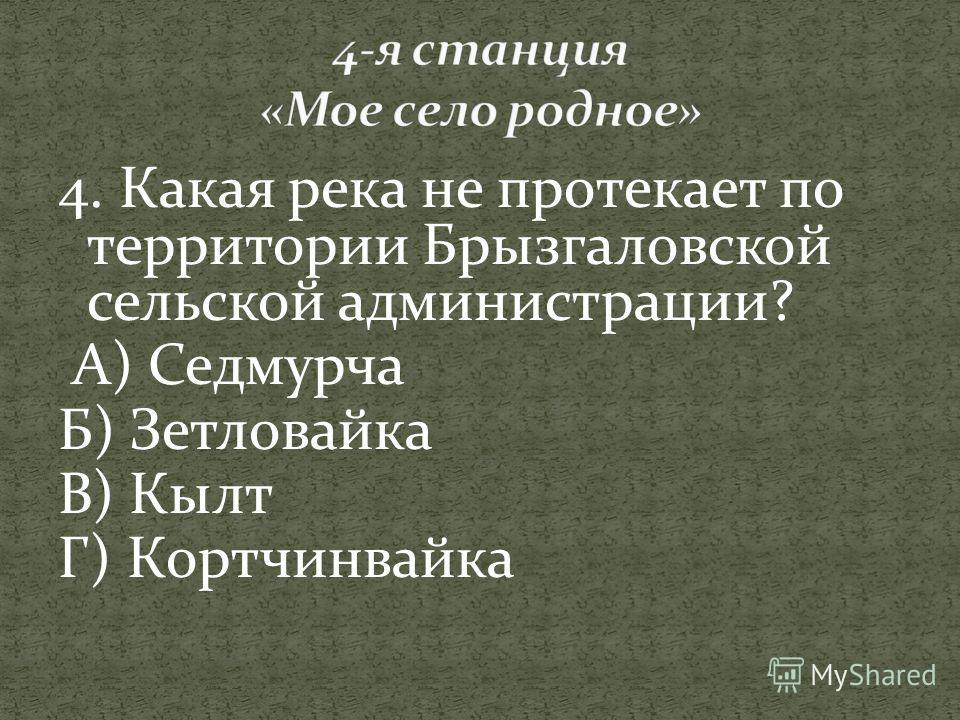 4. Какая река не протекает по территории Брызгаловской сельской администрации? А) Седмурча Б) Зетловайка В) Кылт Г) Кортчинвайка