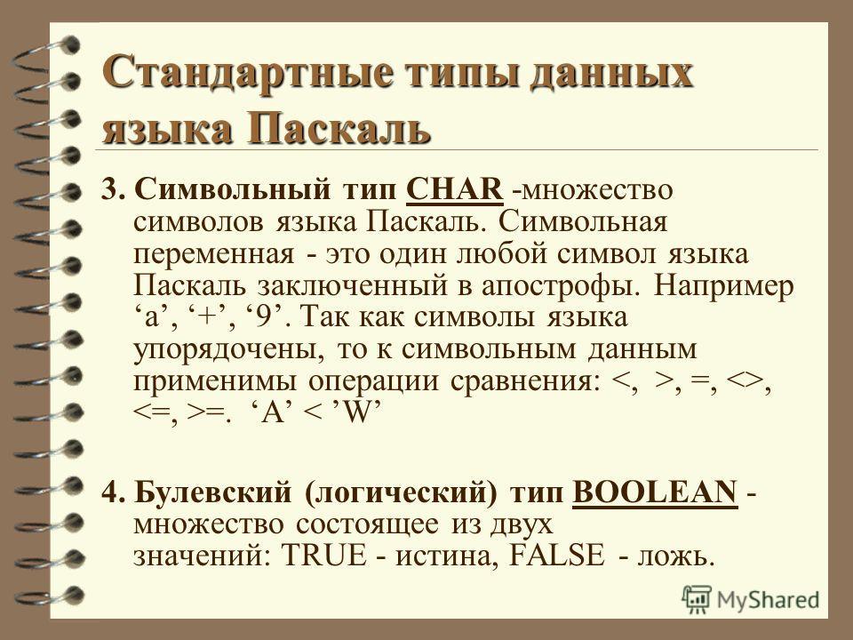 Стандартные типы данных языка Паскаль 3. Символьный тип CHAR -множество символов языка Паскаль. Символьная переменная - это один любой символ языка Паскаль заключенный в апострофы. Напримера, +, 9. Так как символы языка упорядочены, то к символьным д