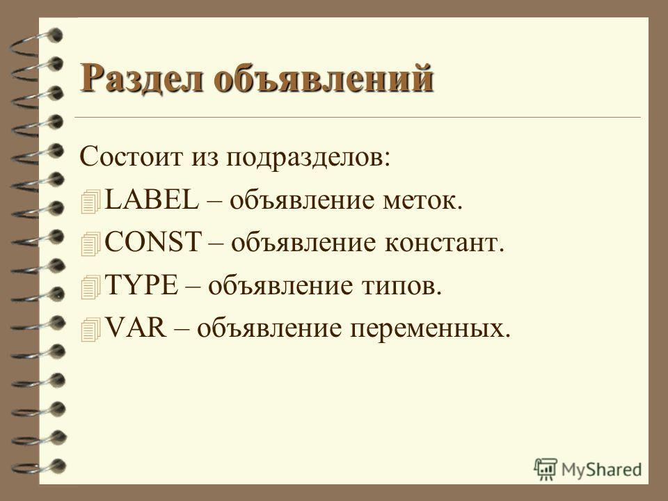 Раздел объявлений Состоит из подразделов: 4 LABEL – объявление меток. 4 CONST – объявление констант. 4 TYPE – объявление типов. 4 VAR – объявление переменных.