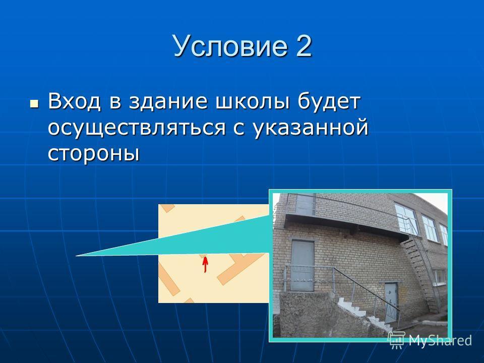 Условие 2 Вход в здание школы будет осуществляться с указанной стороны Вход в здание школы будет осуществляться с указанной стороны