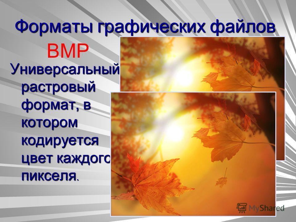 Форматы графических файлов BMP Универсальный растровый формат, в котором кодируется цвет каждого пикселя.