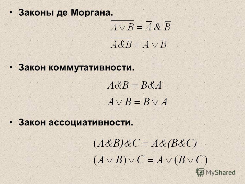 Законы де Моргана. Закон коммутативности. Закон ассоциативности.