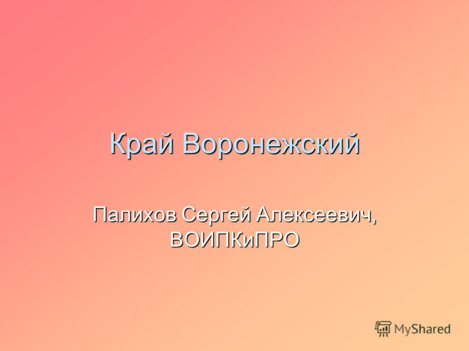 Край Воронежский Палихов Сергей Алексеевич, ВОИПКиПРО