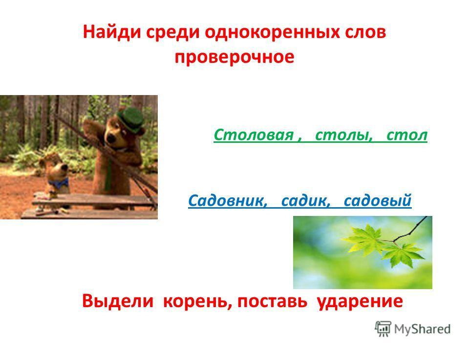 Найди среди однокоренных слов проверочное Столовая, столы, стол Садовник, садик, садовый Выдели корень, поставь ударение