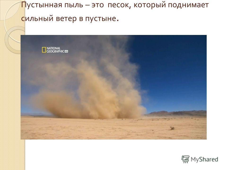 Пустынная пыль – это песок, который поднимает сильный ветер в пустыне.