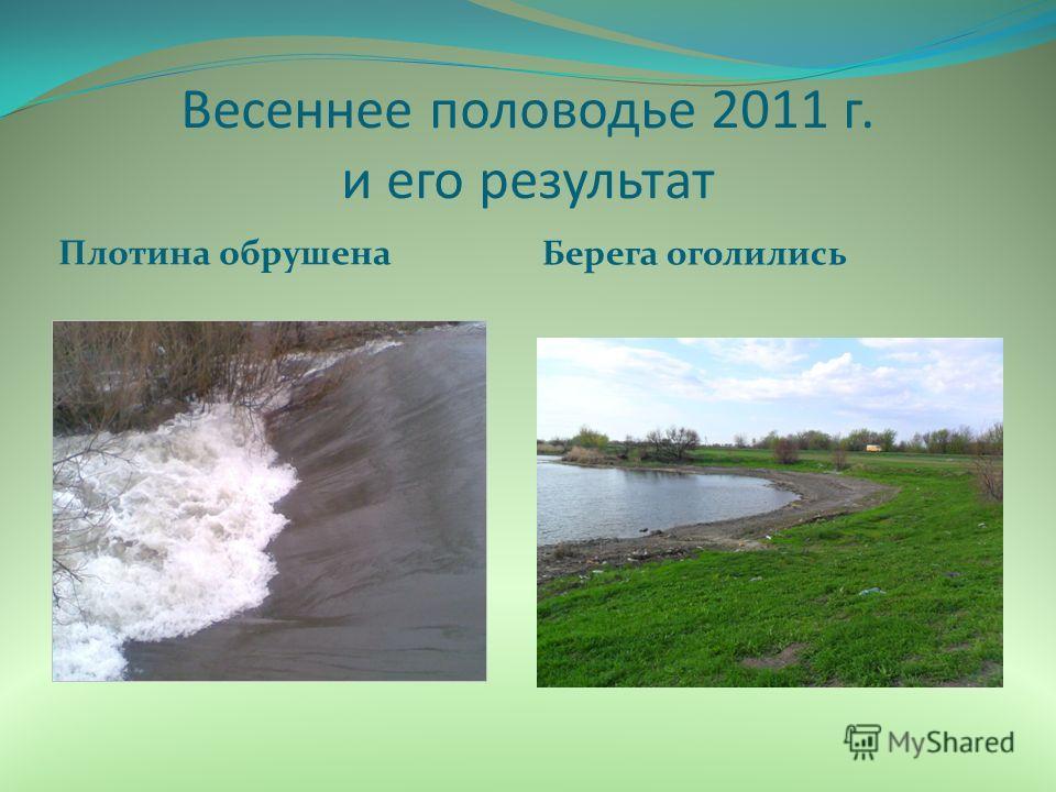 Весеннее половодье 2011 г. и его результат Плотина обрушена Берега оголились