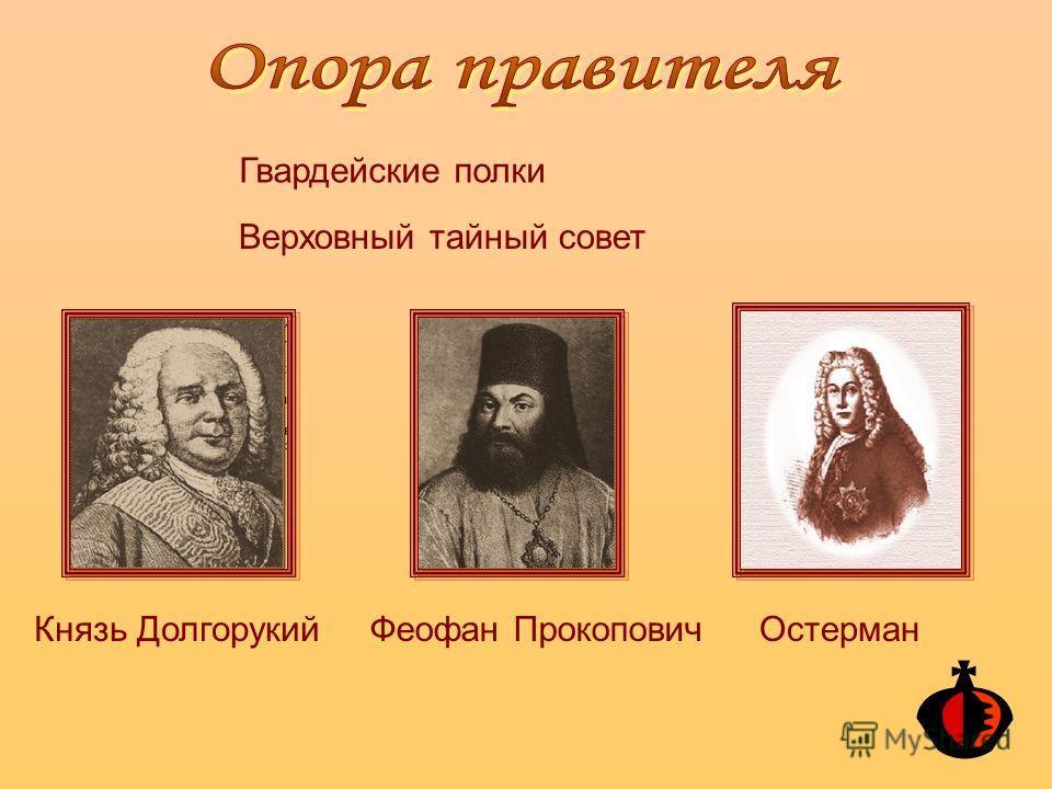 Гвардейские полки Верховный тайный совет Князь ДолгорукийФеофан ПрокоповичОстерман