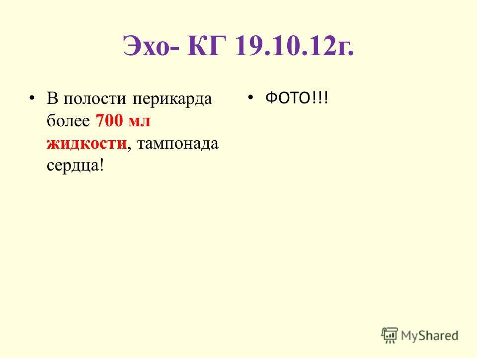 Эхо- КГ 19.10.12г. В полости перикарда более 700 мл жидкости, тампонада сердца! ФОТО!!!