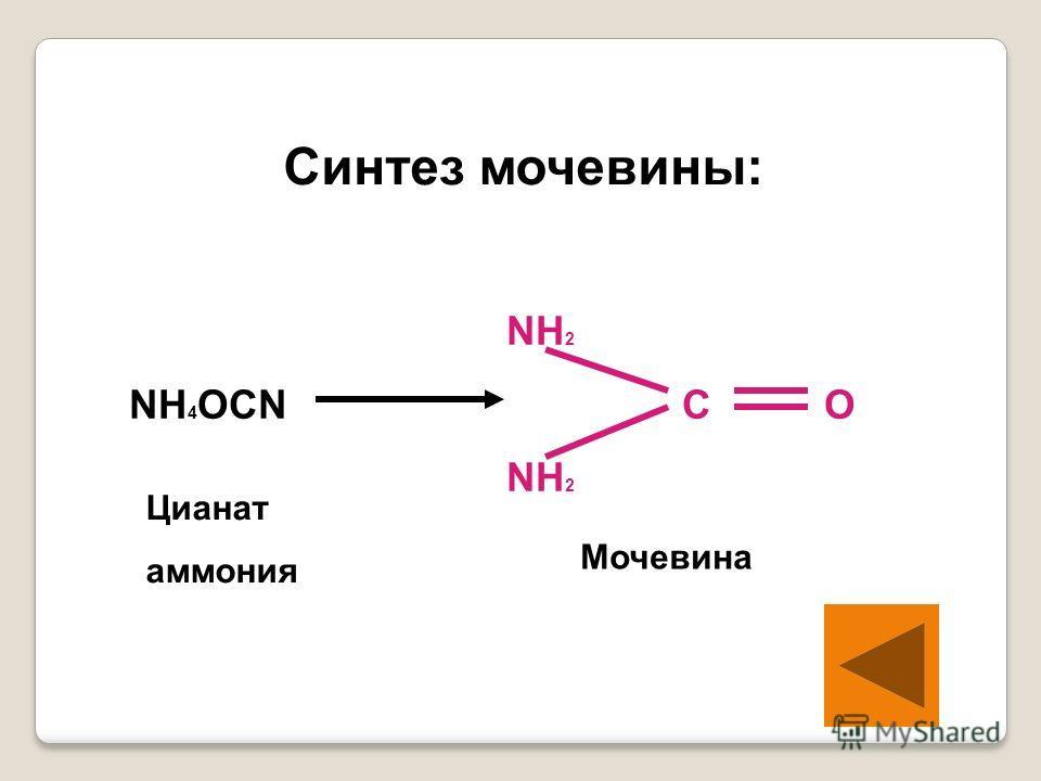 Синтез мочевины: NH 2 NH 4 OCN C O NH 2 Цианат аммония Мочевина