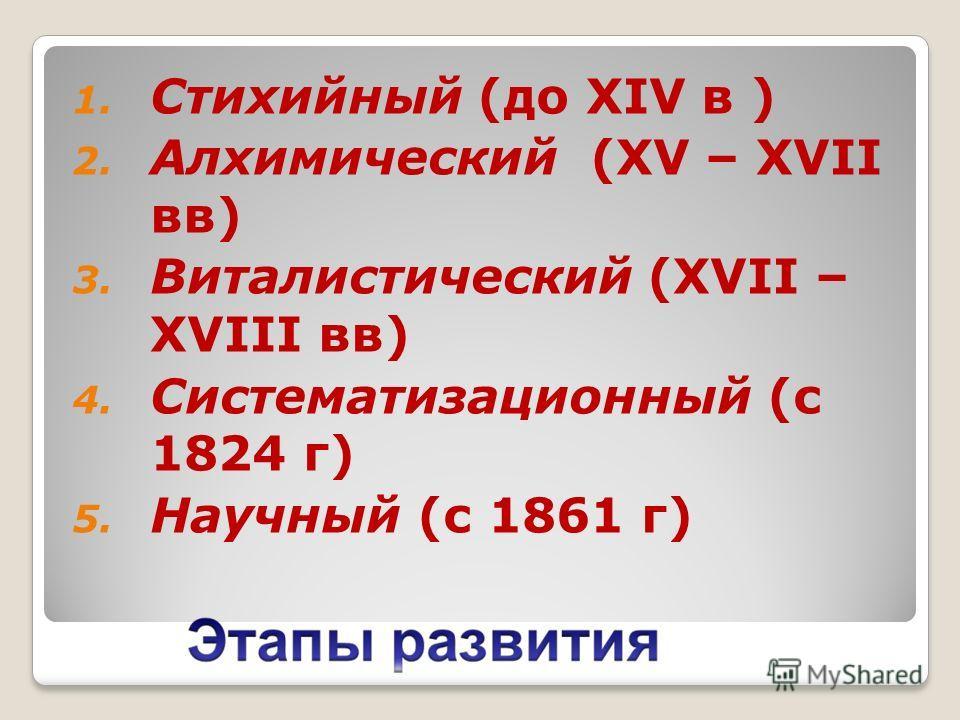 1. Стихийный (до XIV в ) 2. Алхимический (XV – XVII вв) 3. Виталистический (XVII – XVIII вв) 4. Систематизационный (с 1824 г) 5. Научный (с 1861 г)