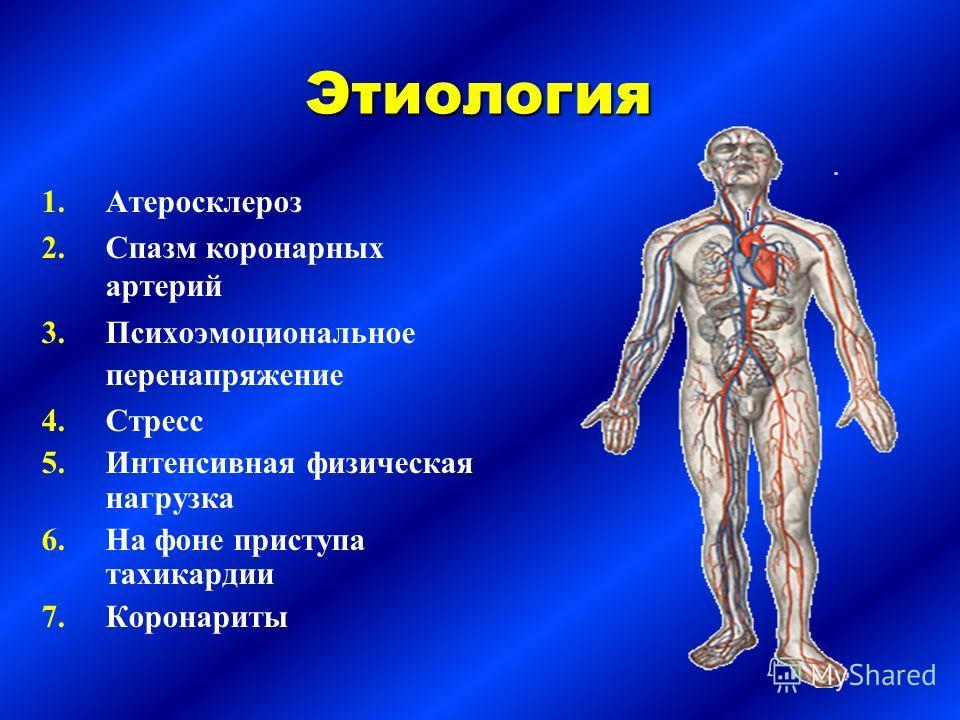Этиология 1. 1.Атеросклероз 2. 2.Спазм коронарных артерий 3. 3.Психоэмоциональное перенапряжение 4. 4.Стресс 5. 5.Интенсивная физическая нагрузка 6. 6.На фоне приступа тахикардии 7. 7.Коронариты
