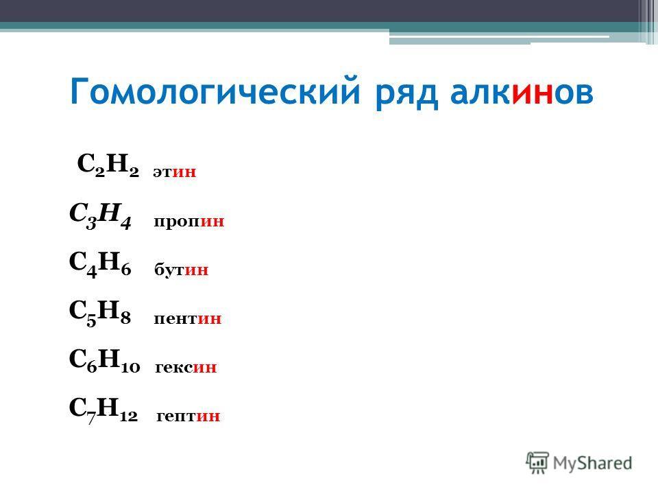 Гомологический ряд алкинов C 2 H 2 этин C 3 H 4 пропин C 4 H 6 бутин C 5 H 8 пентин C 6 H 10 гексин C 7 H 12 гептин