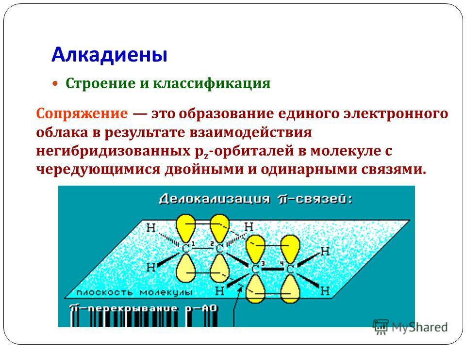 Алкадиены Строение и классификация Сопряжение это образование единого электронного облака в результате взаимодействия негибридизованных p z - орбиталей в молекуле с чередующимися двойными и одинарными связями.