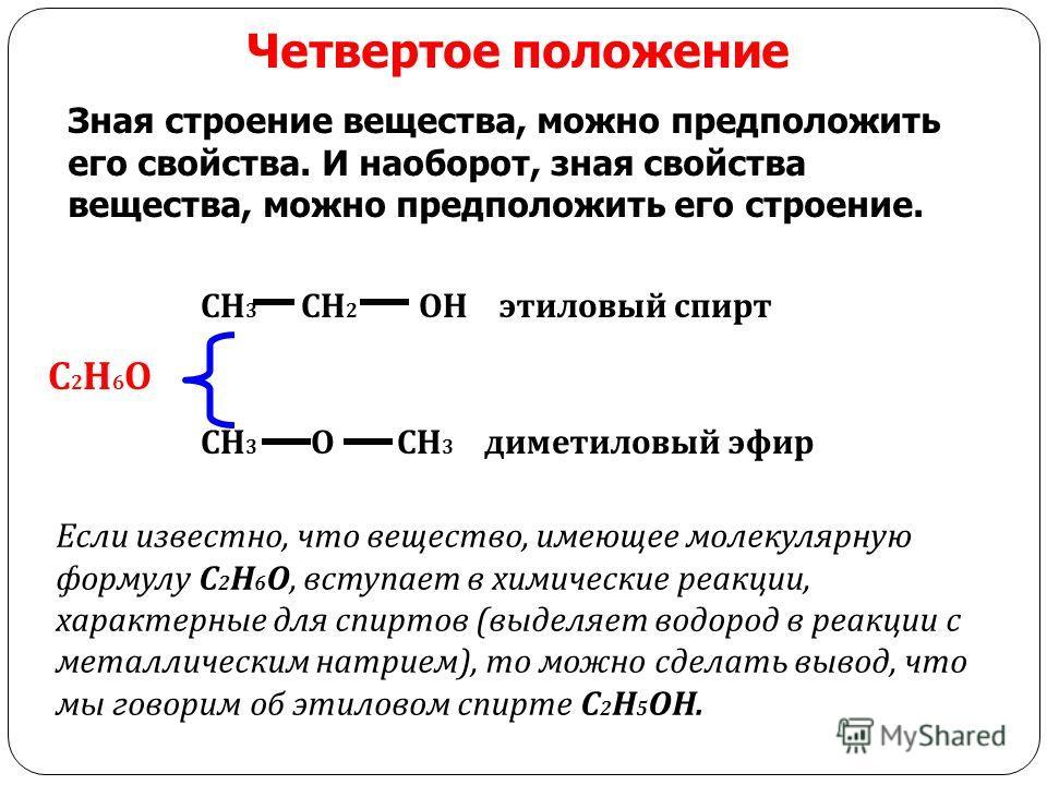 Четвертое положение Зная строение вещества, можно предположить его свойства. И наоборот, зная свойства вещества, можно предположить его строение. СН 3 СН 2 ОН этиловый спирт С 2 Н 6 О СН 3 О СН 3 диметиловый эфир Если известно, что вещество, имеющее