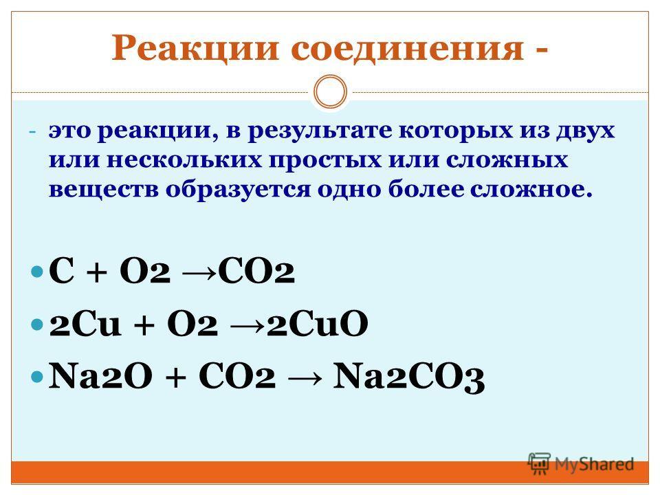 Реакции соединения - - это реакции, в результате которых из двух или нескольких простых или сложных веществ образуется одно более сложное. С + О2 CO2 2Сu + O2 2CuO Na2O + CO2 Na2CO3