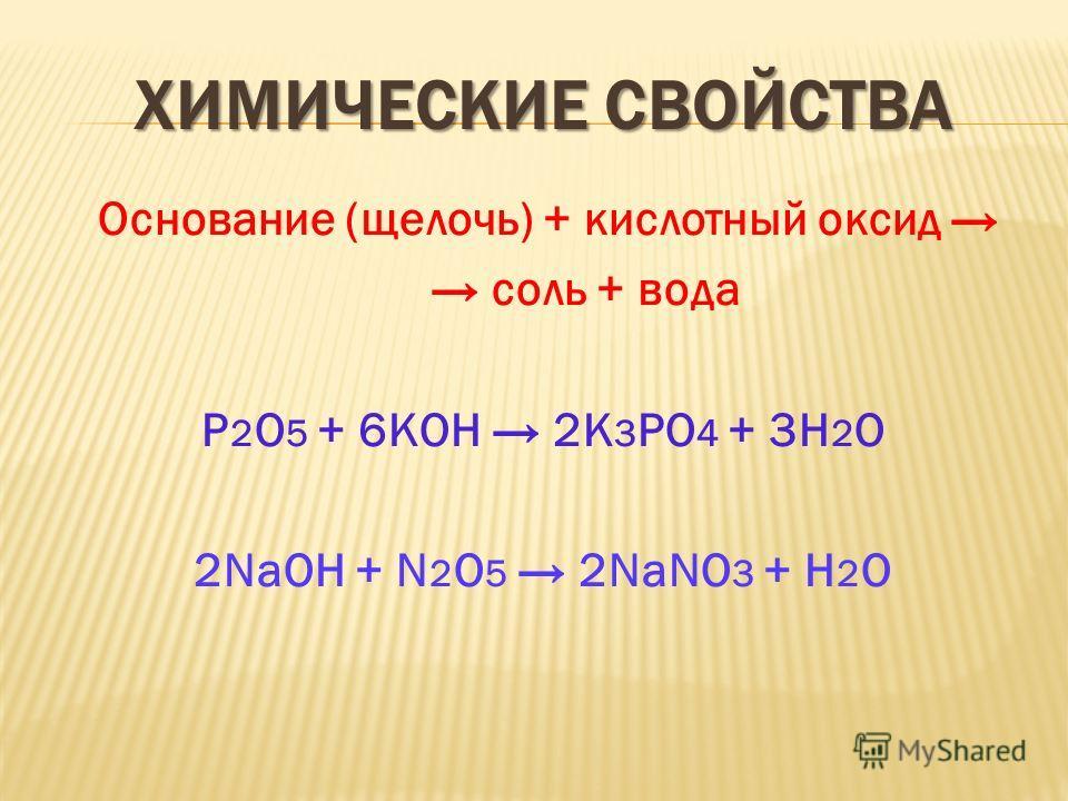 ХИМИЧЕСКИЕ СВОЙСТВА Основание (щелочь) + кислотный оксид соль + вода Р 2 О 5 + 6КОН 2К 3 РО 4 + 3Н 2 О 2NaOH + N 2 O 5 2NaNO 3 + Н 2 О